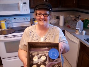 Here I am holding the cookies.  I hadn't taken them out of the box yet.