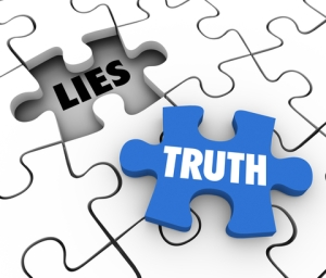 Truth Vs Lies Puzzle Piece Words Compete Honest Facts Whole Stor