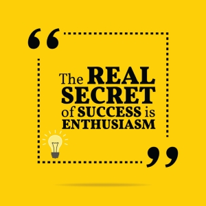Inspirational motivational quote. The real secret of success is enthusiasm. Simple trendy design.